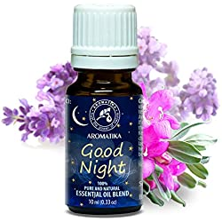 Duftmischung Guter Schlaf, Aromamischung GUTE NACHT mit naturreinem ätherischen 100 % Lavendelöl und Salbeiöl, Natürliche Raumduft, Duftkomposition am besten für Süßer Traum /Stressabbau / Beauty/ Baden /Körperpflege /Wellness /Schönheit /Aromatherapie /Entspannung /Massage/ SPA/ Aroma diffuser / Duftlampe/ Kosmetik / Aroma / Glasflasche, 10 ml, 1er Pack (1 x 10 ml) von AROMATIKA