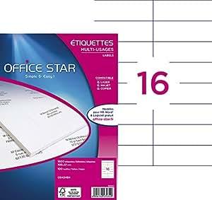 Office Star Boite de 1600 Etiquettes - Multi-Usages -105X37mm - Blanc (OS43484)