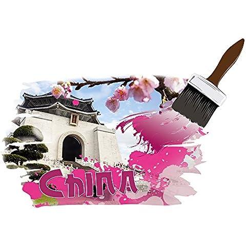 Adesivi da parete adesivi Per soggiorno con scritta China tempio fiori, 82 x 57 cm