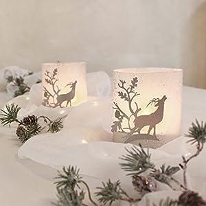Windlicht Tischdekoration Hirsch silber auf weiss Glitzer