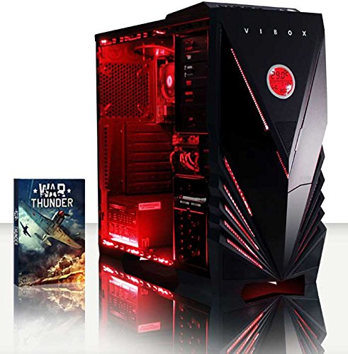 Vibox Ultra Pacchetto 11S Gaming PC con Gioco War Thunder, 3.1GHz AMD A8 Quad Core Processore, Radeon R7 Chip Grafico, 1TB HDD, 16GB RAM, Case Commando, Neon Rosso