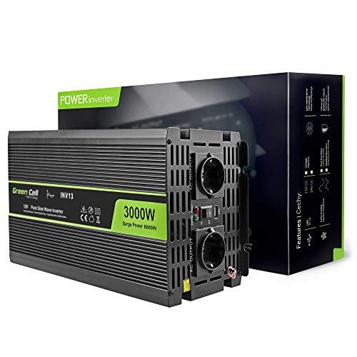 Green Cell 3000W Reiner Sinus Spannungswandler Wechselrichter DC 12V auf AC 230V Inverter für Auto inkl. Stecker für Kfz-Zigarettenanzünder mit USB-Ladeanschluss und Direktanschluss an Autobatterie
