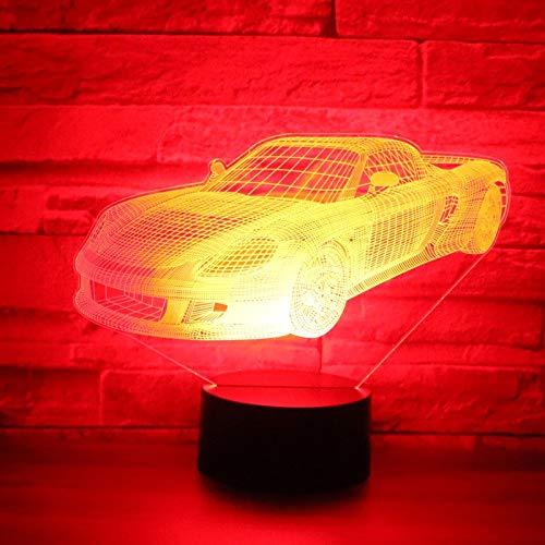PEJHQY 3D LED Nachtlicht Musik Sportwagen Sportwagen Rennrad mit 7 Farblichtern für Hauptdekoration Lichter, erstaunliche visuelle Effekte