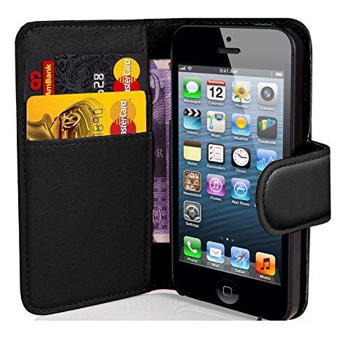 Schwarz Apple iPod Touch 5/65./6. Generation Book–Qualität PREMIUM PU Leder Flip Wallet Schutzhülle Beutel (kompatibel für iPod Touch 5/6Displayschutzfolie)