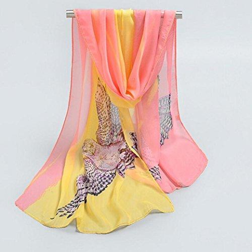 FEITONG Damen Wrap Schal Chiffon Druck Bikini Weichen Schals Rosa