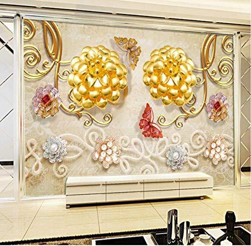 Fototapete 3d Luxus Goldschmuck Blume Schmetterling TV Hintergrund Wand Stereo Tapete benutzerdefinierte Wohnzimmer Wandbild