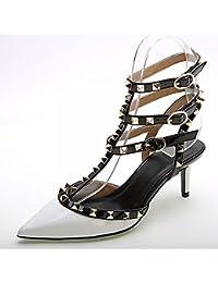 JF Los Zapatos de Las Mujeres, Color Sólido Puntiagudo Occidental 3 con un Remache Zapatos de Charol, Zapatos de Tacón Alto de Moda de Las Mujeres,Mi,38