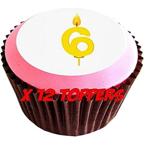 Candela per compleanno, numero 6, confezione da 12 decorazioni commestibili