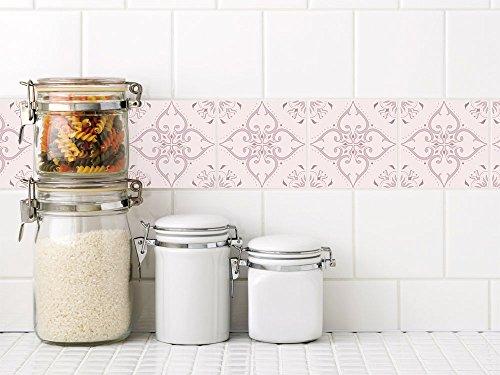 GRAZDesign 770249_15x15_FL20st Fliesenaufkleber rosa portugiesisch | Fliesenbilder - Klebefliesen Fliesen für Badezimmer und Küche | für alle Fliesen geeignet | alte Fliesen überkleben (15x15cm // Set 20 Stück)