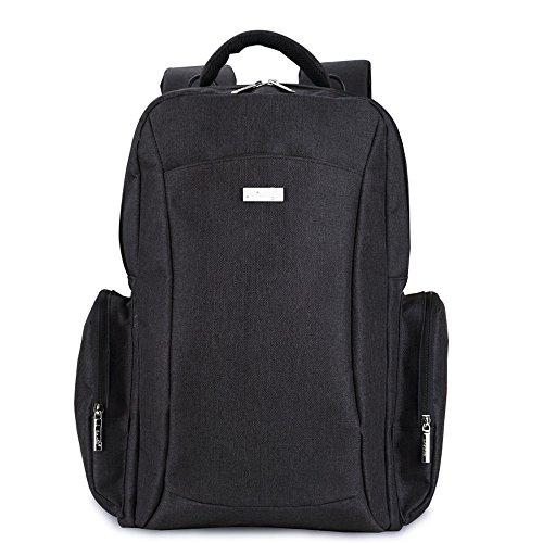 DOXUNGO Wickelrucksack Multifunktionale groß gräumig Mamatasche geschichtet Kinderwagentasche mit Wickelauflage für Mama Papa zum Reisen Wander Spaziergang (Schwarz)