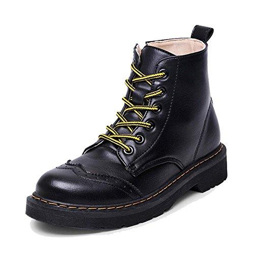 femmes martin court bottes cuir appartement talon chaud décontractée lacet côté fermeture éclair cheville chaussures