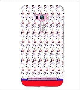 PrintDhaba I Love You Pattern D-1602 Back Case Cover for ASUS ZENFONE SELFIE ZD551KL ULTRA (Multi-Coloured)