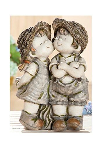 Gilde Figurine de Jardin décoration de Jardin Figurine Detlef et Elisabeth dans Le Look usé, Gris Vert, 46 cm
