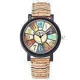 Bunte Armbanduhr für Frauen von JSDDE, mit Kompassmuster, rot, schwarz und lila gestreiftes Kunstlederarmband und Quarzuhrwerk.