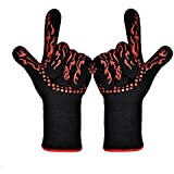 ETmate 2PCS Gloves Heat Resistant Gloves BBQ Grilling Cooking Gloves Oven Gloves Withstand up to 932°F Extreme Gloves Heat Resistant Kitchen