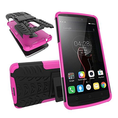 BMD-CASES Für Handy-Schutzhüllen, Für das Lenovo A7010-Gehäuse Dual-Layer-Hybrid-Rüstungsgehäuse abnehmbar [Kickstand] 2 in 1 stoßfestes Robustes Gehäuse (Farbe : Rosa)
