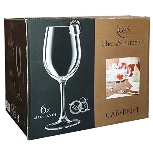 Lot de 6 verres à pied 25 cl pour vin rouge blanc - Chef et Sommelier ligne Cabernet