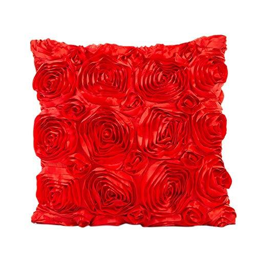 AchidistviQ 42 x 42 cm Satin Rose Blume Kissenbezug Überwurf Kissenbezug Home Sofa Bett Decor Rose Bestickt Kissen Fall Home Weiche Dekoration Hochzeit, Polyester, rot 20 X 42 Satin