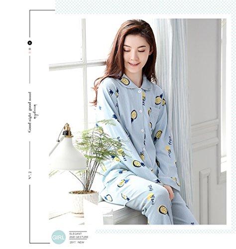Naughtyspicy Sleepwear da donna a maniche lunghe con bottoni Top e pantaloni in pigiama set-blu / ananas Blu / Ananas