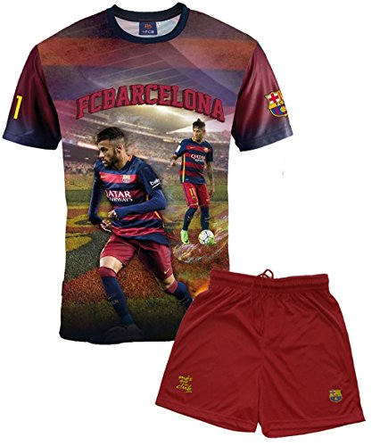 FC Barcelona Jungen-Trikot und kurze Hose, Neymar, Nr. 11, offizielle Kollektion, Kindergröße - 10 Jahre