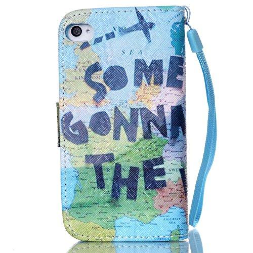 KATUMO® Handyhülle für iPhone 4, [Flip Book Case] PU Leder Wallet Case Handytasche Schutzhülle für Apple iPhone 4/4S Lederhülle Etui Schale mit Standfunktion Function,Fantasie Campanula Globale Welt