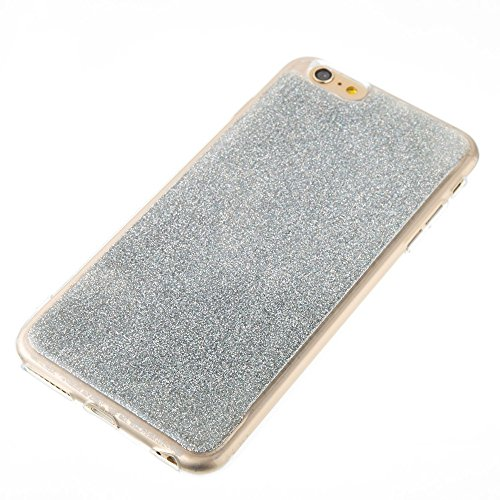 Soft Flexible Silikon TPU Gel Cover Case [Anti-Kratzer] Glänzende Glitter 360 ° Full Coverage Back Cover [Shockproof] für iPhone 6 Plus & 6s Plus ( Color : Green ) Silver