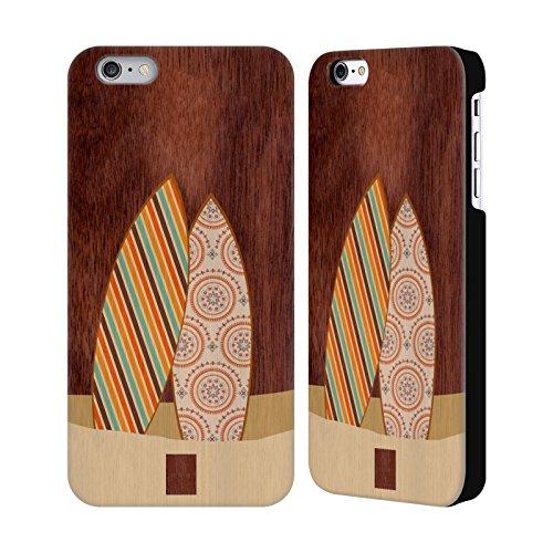 Head Case Designs Surf De Vague Surfeurs Étui Coque Rigide En Bois De Noix Pour Apple iPhone 6 Plus / 6s Plus Tableau De Modèle