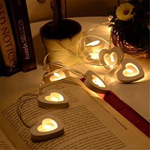 ENZE 10-LED Holz Liebe Licht Lichterketten Batteriebetriebene LED Fairy String Lichter 3D Dekoration Licht Für Valentinstag (Warmes Weiß)