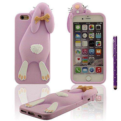 Apple iPhone 6S Plus / 6 Plus 5.5 Custodia Protettiva Cover + Penna stilografica Morbido Elastico Silicone Gel Tipo di animali Design ragazze Stile 3D Coniglietto Forma Vari colori - Stile Rosa Porproa