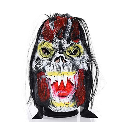 BHM Maske, Halloween Maskerade Maske - Natürlich Umweltfreundlich Ungiftig - Horror Maske - Ganzer Mensch Terrorist Latex Kopfbedeckung,E