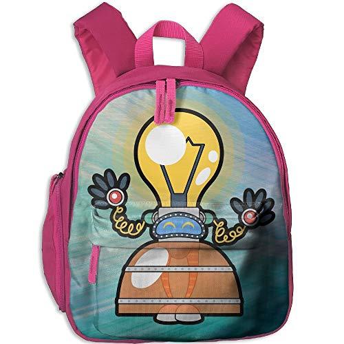 Kindergarten Boys Girls Backpack Bulb Robot School Bag