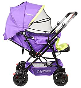 Tiffy and Toffee Baby Shower Stroller Pram (Neon Green with Purple)