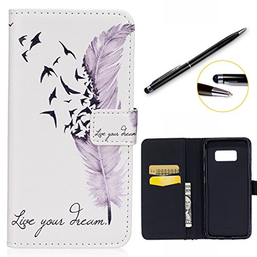 Samsung Galaxy S8 Coque ( 5.8 pouces ), Lotuslnn PU Cuir Flip Coque Wallet Case with TPU Back Protector Housse Etui pour Samsung Galaxy S8 With Stylus Pen - White Feather