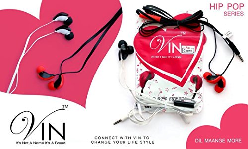 VIN Hip Hop Series Stereo Earphones In-Ear Headphone Headset Super Heavy Bass, Volume Control With Noice Cancellatione 3.5MM Jack In-Ear Headphone Compatible With Samsung, i Phone, Motorola,Sony,Oneplus, Htc, Lenovo, Nokia, Asus,Lg,Coolpad, Xiaomi, Micromax And All Android Mobiles By vin communication  available at amazon for Rs.205