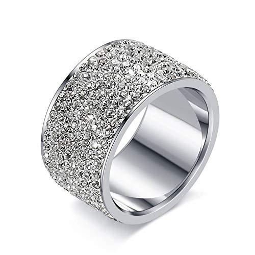 ZHOUYF RING Verlobungsringe Mode Voller Kristall Große Hochzeit Ringe Für Frauen Romantische Edelstahl Ring Bague Femme Gold-Farbe Ring Weiblich, E, 11 Femme Fringe