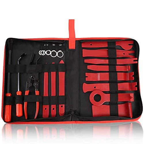 tofree 19-teiliges Auto-Demontagewerkzeug, Verkleidung, Reparaturwerkzeuge, universelle Innenverkleidung, Auto-Entfernung, Reparaturwerkzeug, mit Reißverschlusstasche As Shown,Red