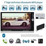 1 Un Din MP5 voiture Radio Audio USB AUX FM Radio Station Bluetooth Rearview Caméra Affichage avec télécommande sans fil...