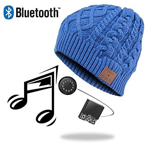 URCOVER® Copricapo Cappello Berretto Bluetooth | Auricolari Integrati Cuffie Stereo Microfono Vivavoce per Chiamate Wireless | Caldo e Morbido Beanie in Blu | Suono Alta Qualitá Ricaricabile