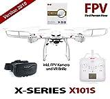 efaso Quadcopter MJX X101S FPV WiFi UPGRADE EDITION 2018 mit neuer DESIGN-FERNSTEUERUNG Drohne mit 2.0 MP 720p HD-Kamera C4016 und VR 3D Brille mit One key return, Flip-Funktion, LED Beleuchtung, 2 Geschwindigkeiten und Rotorschutz