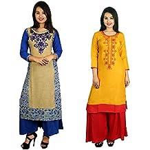 Sangria Women's Casual Cotton Kurti (Pack Of 2)