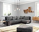 DELIFE Couch Panama Schwarz Ottomane rechts mit Hocker Ecksofa modular