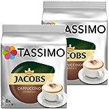 Tassimo Jacobs Cappuccino, Rainforest Alliance Vérifié, Lot de 2, 2 x 16 T-Discs (8 Portions)