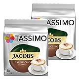 Tassimo Jacobs Cappuccino, Kaffee, Kaffeekapsel, gemahlener Röstkaffee, 2er Pack, 2 x 16 T-Discs (16 Portionen)