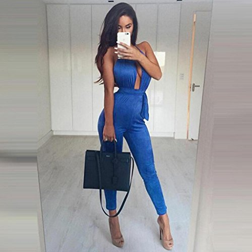 Ouneed® Sexy Bodysuit Women Backless Sleeveless Clubwear Party Bandage Long Jumpsuits blue