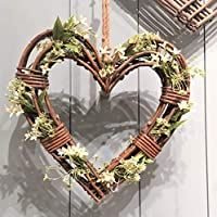 Tutti Decor Gisela Graham Large Natural Wicker Heart Wreath. Christmas Wedding Home 50cm