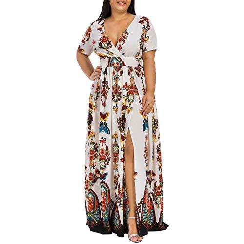 LOPILY Abendkleider Damen Blumendruck Elastisch Hohe Taillen Strandkleid Partykleid Stretch Falten Reizvolle Rückenfrei V-Ausschnitt Sommerkleider Maxikleid Kleider(X1-Weiß, EU-50/CN-4XL)