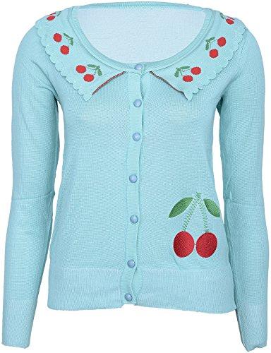 Damen Strickjacke Cherry Kirschen Retro Cardigan Mehrfarbig S
