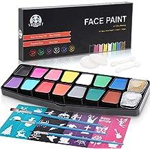 LENBEST Pinturas Cara, Maquillaje al Agua, Pinturas corporales - 14 Colores 3 cepillos 2