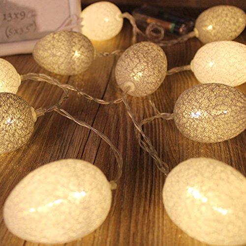 LEDMOMO Uovo di Pasqua 3,2 M 20 LED Pasqua String Egg Lights Party Charistmas Giardino di casa Decorazione cortile (serie bianca e grigia Warm White)