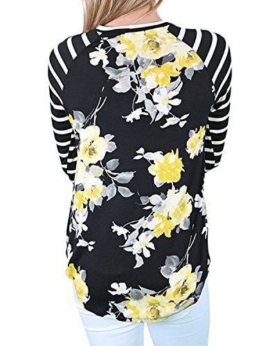 Auxo Damen Floral Streifen Langarm Party Club Slim T-Shirt Langshirt Oberteil Tops Schwarz